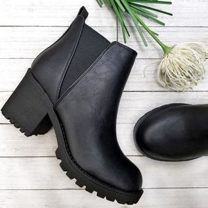 New Black Chelsea Lug Combat Ankle Boots Booties